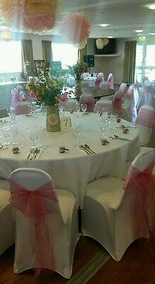 100 wedding chair covers, sashes, 10 table runners, decor party event HIRE ONLY