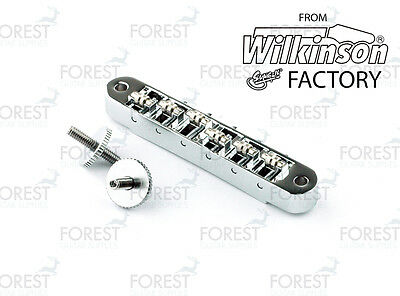 BM-015, Roller TOM T stud mount style guitar bridge, tune o matic, chrome