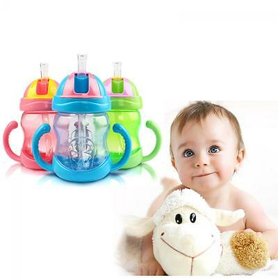 Children Handle Infant Learn Drinking Bottle Sippy Cup Straw
