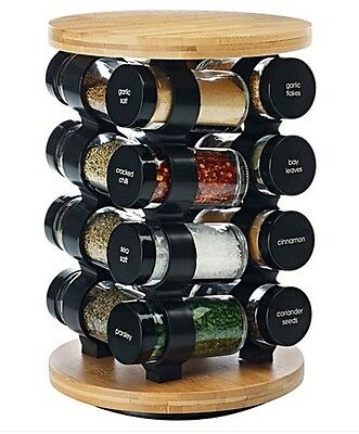 Maxwell Williams 17 Piece Bamboo Set Herbs Spice Carousel Rack Storage 4 Tiers