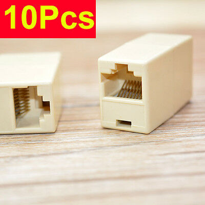 10Pc Ethernet RJ-45 Female Connections LAN Adapter Ethernet Network Plug Routers