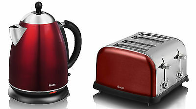 Swan Retro 1.7L Ss Cordless Jug Kettle + Stainless Steel 4Slice Toaster Set, Red