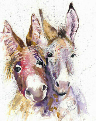 HELEN ROSE Limited Print DONKEY DOUBLE wildlife art watercolour painting   341