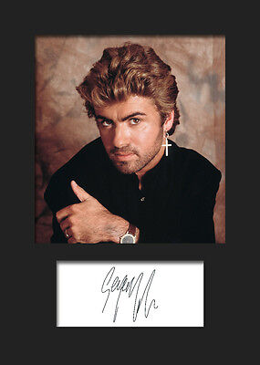 GEORGE MICHAEL #4 A5 Signed Mounted Photo Print - FREE DELIVERY