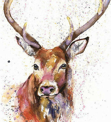 HELEN ROSE Limited Print PROUD STAG wildlife art watercolour painting   342