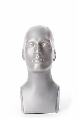 Free Standing Tabletop Male Mannequin Head Hat, Scarf Display - Grey