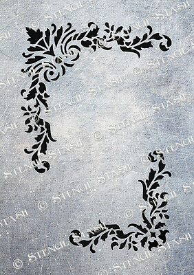 Damask STENCIL A5 FJ Corner Flourishes French Country Vintage Furniture Fabric