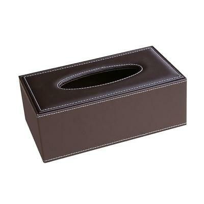 PU Leather Tissue Box Cover Home Car Napkin Toilet Paper Holder Case Brown
