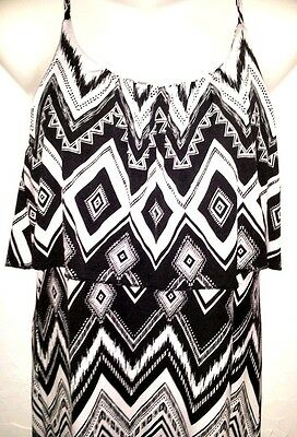 MAXI DRESS - Women Size Medium BLACK/WHITE Premium Quality Ladies Stretch Dress