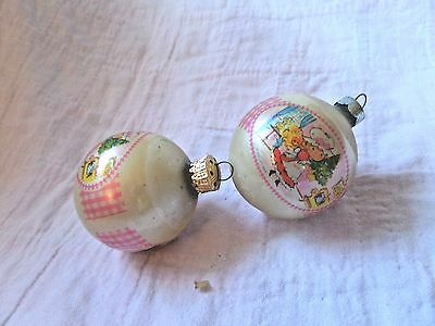 2 Vintage 1976 Strawberry Shortcake Christmas ornaments
