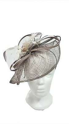 JACQUES VERT Fascinator Dark Grey & w/Floral & Feather MOTB Wedding Races Ascot