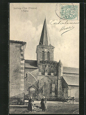 remarquable CPA Jaunay-Clan, L´Eglise 1903