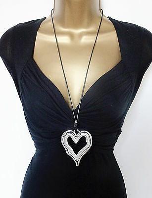 """Stunning 27"""" Long Black Corded Necklace Heart Pendant in Silver Tone Lagenlook"""