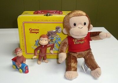"Curious George Figures Lunch Box  Carry A-Long 8"" Plush Lot"