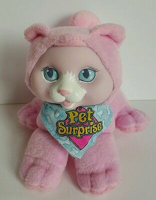 Vintage Hasbro Pet Surprise 1993 Pink Kitty Cat Plush Meows With Bandana