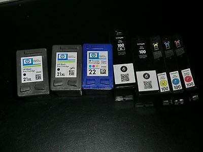 Genuine Hp And Lexmark 100 100Xl Empty Ink Cartridges  Hp 21 21Xl 22