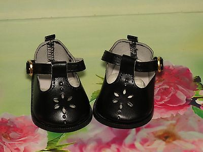 Shoes To Fit The Galoob Baby Face American Girl Doll Black Flower Maryjane