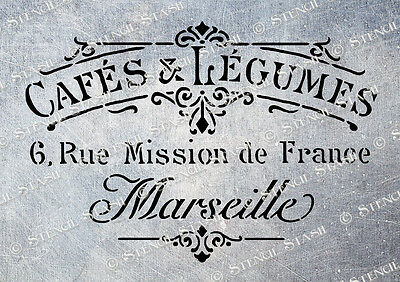 French Cafe STENCIL A5 CL Vintage Country Chic Painted Furniture Fabric Crafts