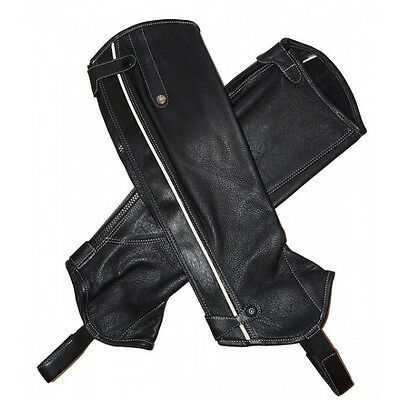 Mark Todd Patent Piped Leather 1/2 Chaps XL/Short Black/CreamSuit Fuller Fillies