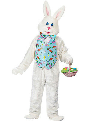 Deluxe XXL White Easter Bunny With Blue Vest and Mascot Head