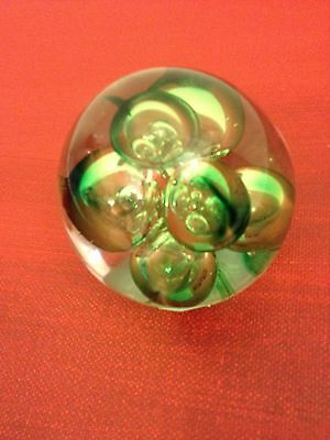 Rare Signed Paul Miller Langham Hand Made Crystal Glass Green Paperweight-New