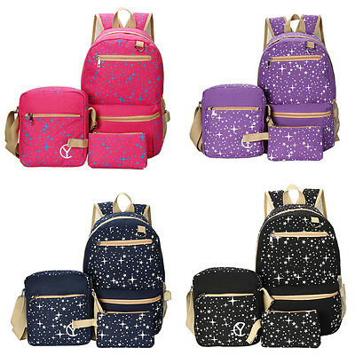 3pcs/Set Backpack Women Canvas Travel Bookbags School Bags for Teenage Girls