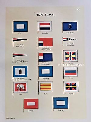 Vexillology 1899 FLAGS OF MARITIME NATIONS Austria Hungry Portugal Argentine etc