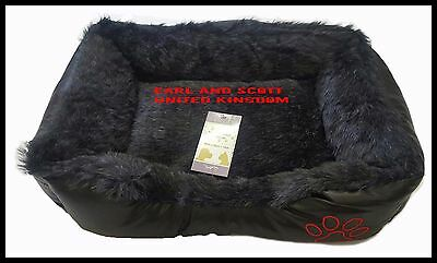 LARGE Soft Comfy REX LEATHER & FUR Washable Dog Pet Cat Warm Basket Bed D black