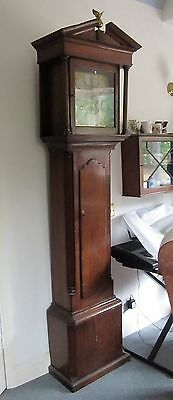 GRANDFATHER CLOCK: oak case, brass dial, 8 day, Charles Stephenson Congleton