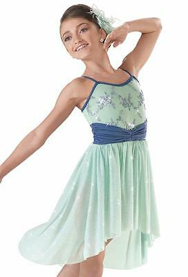 Dance Costume Small Child Mint Blue Lyrical ContemporarySolo Competition Pageant