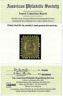 FINLAND STAMPS / Sc.# 8a/ WITH APS CERTIFICATION. -- ADD TO YOUR EARLY FINLAND !