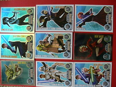 Topps Force Attax Star Wars Trading Cards. Blue. 9 Jedi Knight. 4 Foils