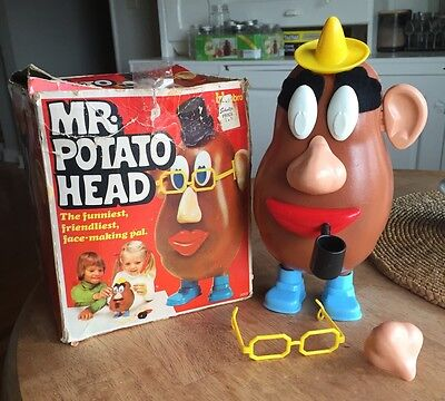 Vintage Mr Potato Head 1974 With Pipe Glasses Nose Eyes Mouth Hat With Box