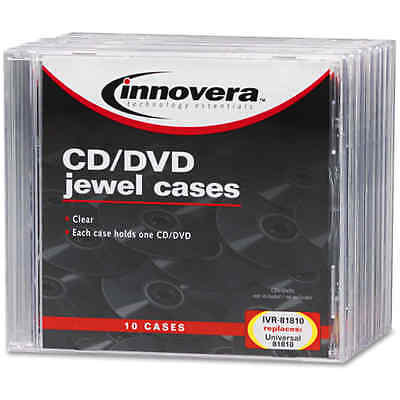 10 Pcs Standard Clear CD DVD Plastic Jewel Cases,By Innovera, FREE SHIPPING,NEW
