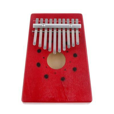 Red Wooden 10 Keys Finger Thumb Piano Mbira Kids Musical Instrument Toy Gift