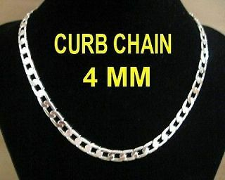 """MENS HIGH QUALITY 925 stamp Sterling Silver plated 4mm CURB CHAIN NECKLACE 24"""""""