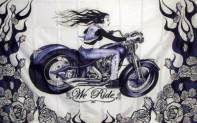 HOT LEATHERS 3x5 ft Flag -WE RIDE (Woman Riding Motorcycle) with Roses