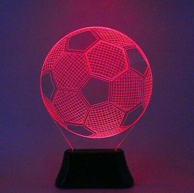 3D Football Nigh Light Soccer Illusion USB Desk Table Lamp 7 Color Changing
