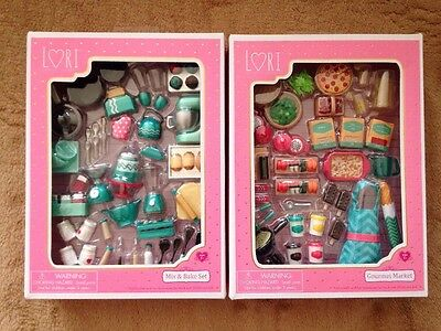 """New Lori Our Generation Bake Set And Gourmet Market Play Food For 6"""" Doll"""