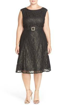 NWT ADRIANNA PAPELL Tea Length Metallic Lace Party Dress 22W Plus ...