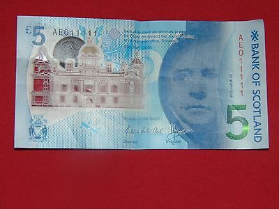 New Bank Of Scotland Polymer 5 Five Pound Note Ae011111 Exclusive Number
