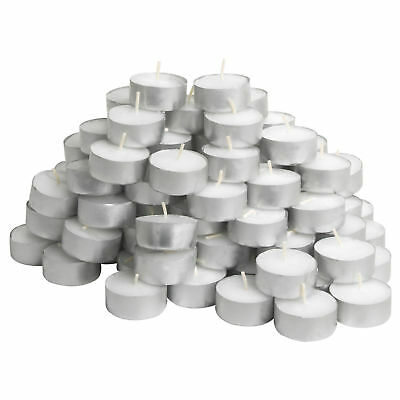Set 50 Pezzi Tealight Candele Tea-light in Cera Biancha Tonde 575GR Durata 4 Ore