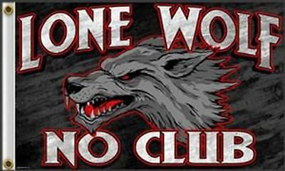 HOT LEATHERS 3x5 ft Flag - LONE WOLF NO CLUB,Biker,Motorcycle