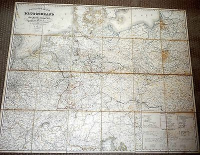 1844 LARGE OLD MAP OF GERMANY and Surrounding Countries Original Case