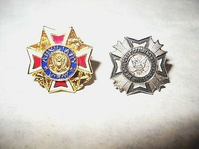 2 VFW PINS - 1 VETERANS OF FOREIGN WARS & 1 VFW AUXILIARY Silvertone & Goldtone