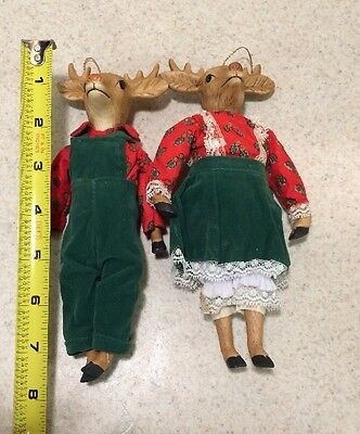 Mr & Mrs Deer Christmas Ornaments Ceramic Dressed 1984 Enesco
