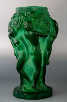 "Bohemian Art Deco Jade Glass Vase ""grape Harvest"" Design H.hoffman"
