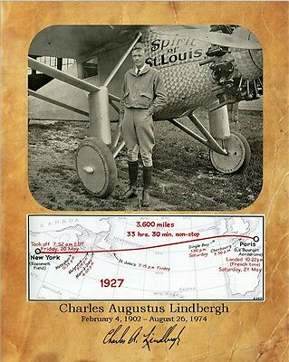 Charles Lindbergh, Spirit of St. Louis with Map 8X10