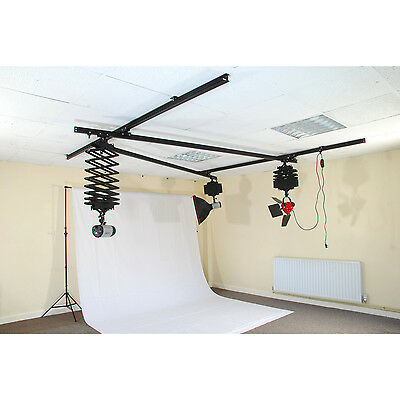 Photo Studio Ceiling Track Lighting System inc 3 x Pantographs and 4 x 3m tracks