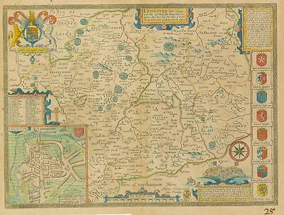 "c1676 ""LEICESTER"" Leicestershire ORIGINAL John Speed ANTIQUE MAP Hand coloured"